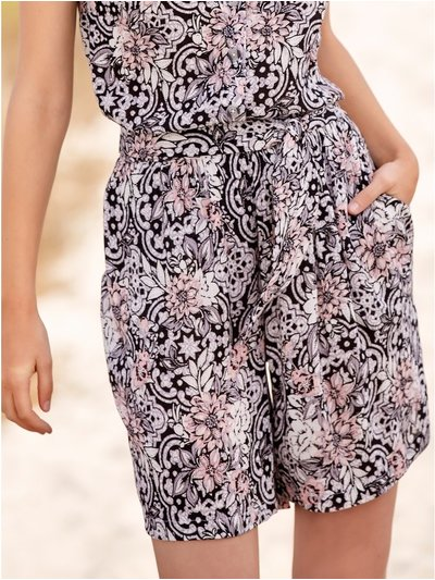 Petite floral crinkle tie front shorts