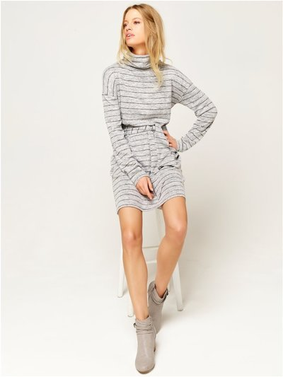Stripe tie front jumper dress