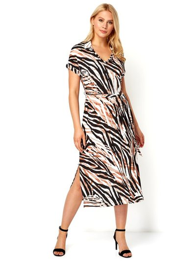 Roman Originals animal print collar midi dress