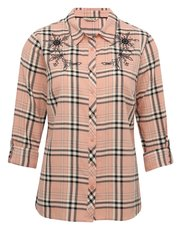 Floral embroidered check shirt
