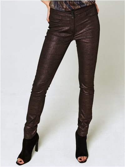 Metallic coated jeans
