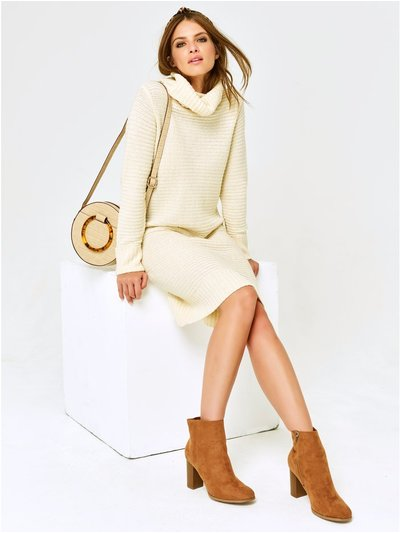 Petite cowl neck jumper dress