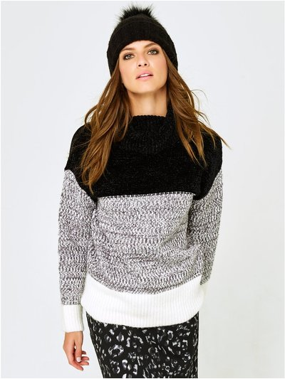 Petite colour block roll neck jumper
