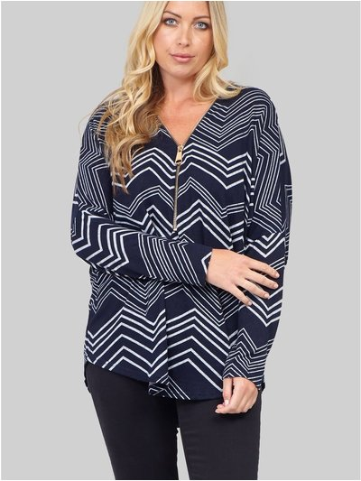 Izabel Curve chevron print zip neck jumper