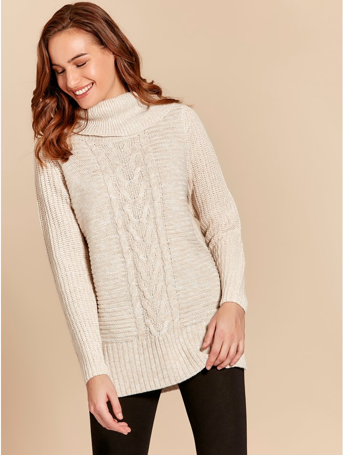 81040cd93cca10 Cable Knit Tunic Jumper