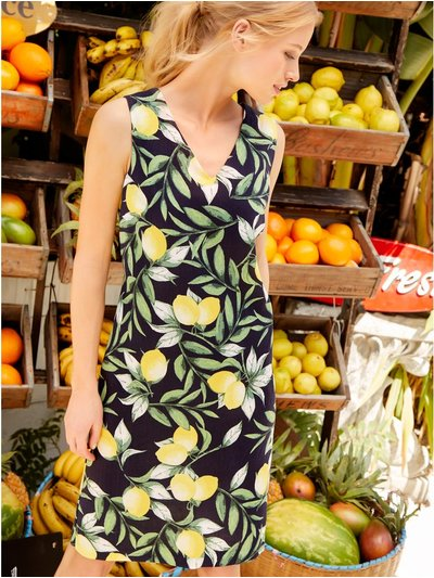 Lemon print linen dress