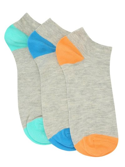 Colour block trainers socks three pack
