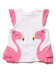 Flamingo broderie anglaise top (0mths-4yrs)