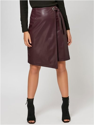 Sonder Studio faux leather wrap front skirt