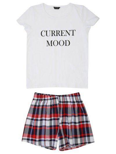 Teen slogan check print pyjamas