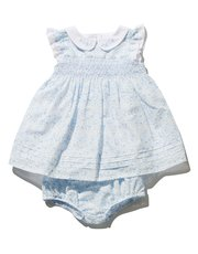 Ditsy print smock dress and knickers set