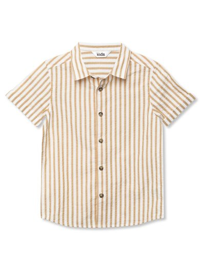 Yellow striped short sleeve shirt (9mths-5yrs)
