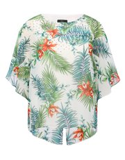 Tropical print embellished batwing top