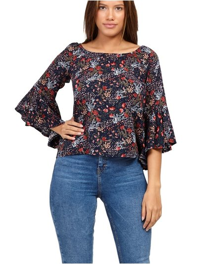 Izabel ditsy floral frill sleeve top