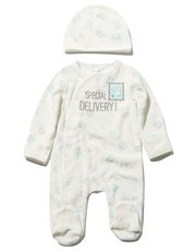 Special delivery sleepsuit and hat set