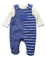 Stripe dungarees and top set
