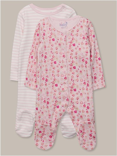 Floral stripe sleepsuits two pack (Tinybaby-18mths)