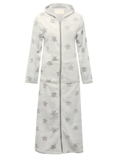Star fleece zip front dressing gown