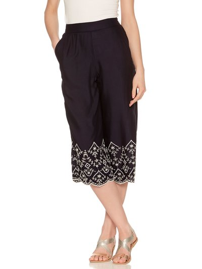 Embroidered border culottes