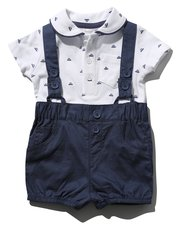 Polo shirt bodysuit and shorts set with braces