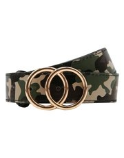 Teen camo print double ring belt