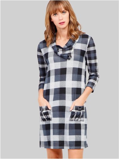 Izabel checked knitted tunic dress