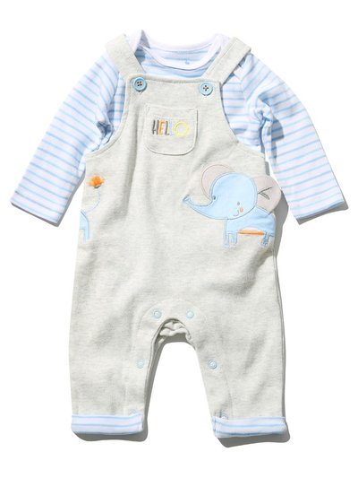 Elephant top and dungarees set (Newborn - 18 mths)