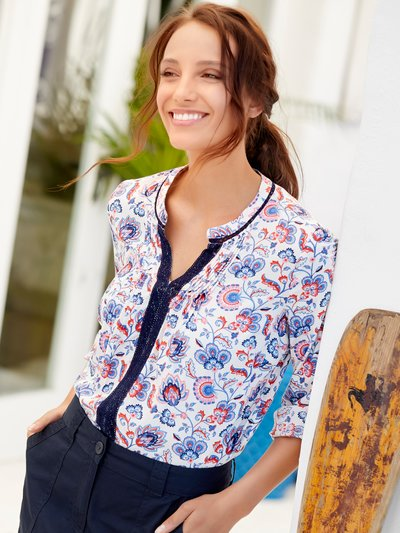 Floral print lace trim shirt