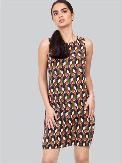 Izabel retro print shift dress