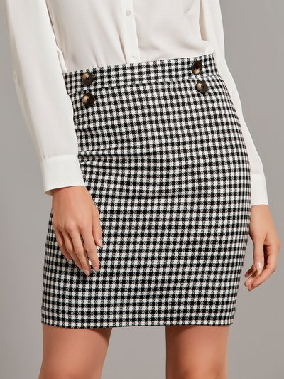 Gingham button front skirt