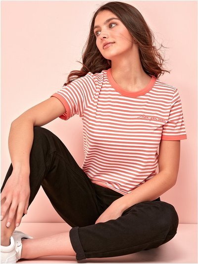 Teen embroidered stripe t-shirt
