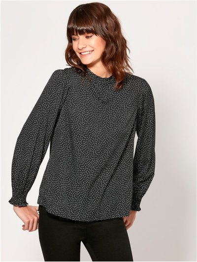 Pie crust collar spot print top