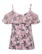 Bird print cold shoulder frill top