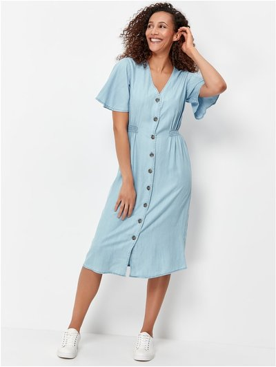 Button through midi tencel dress