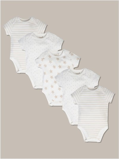 Star print bodysuits five pack (tiny baby-18mths)
