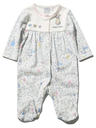 Peter Rabbit floral embroidered sleepsuit