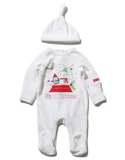 Velour first christmas sleepsuit and hat set