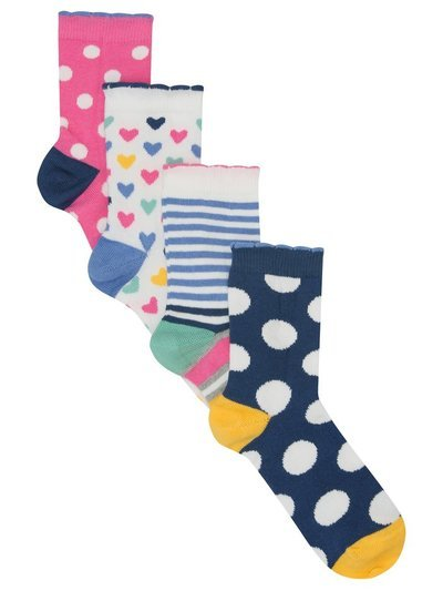 Heart stripe and spot socks four pack