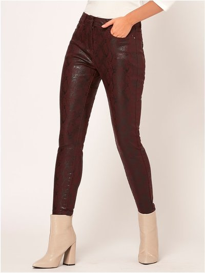 Petite snake print coated jeans
