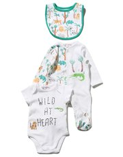 Minoti animal bodysuit sleepsuit and bib set (0mths-1yr)