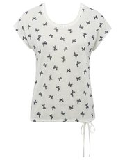 Petite butterfly print tie side top