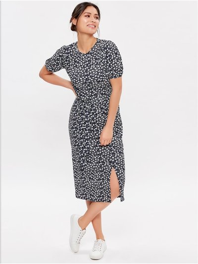 Ditsy print puff sleeve dress