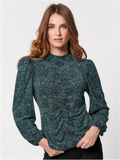 Petite high neck patterned top