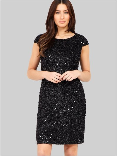 Izabel sequinned v-back shift dress