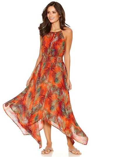 Orange palm hanky hem beach dress