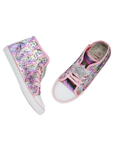 Two way sequin high top trainers