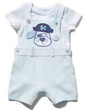 Pirate pup top and bibshort set (Newborn-18mths)