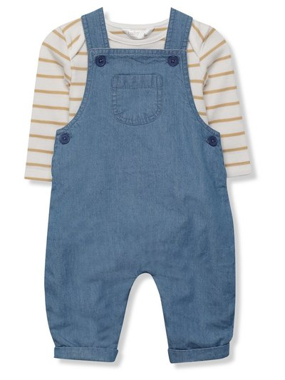 Denim dungarees and stripe top set (Newborn-18mths)