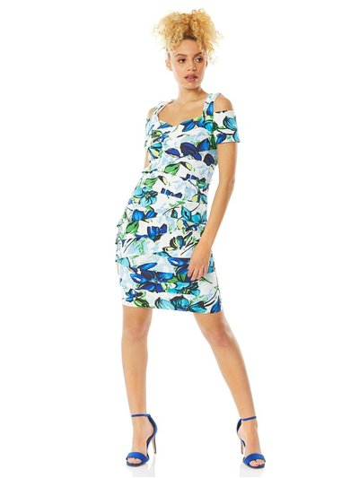 Roman Originals floral shutter pleat fitted dress