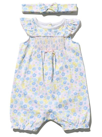 Floral smock romper and headband (Newborn - 18 mths)